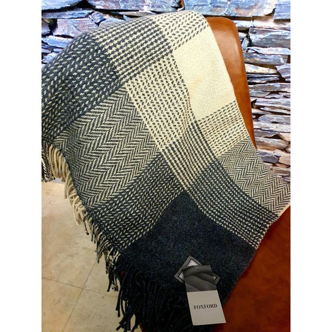 Foxford Cashmere Throw - Grey, Sand & Bone-Nook and Cranny - 2019 REI National Gift Store of the Year