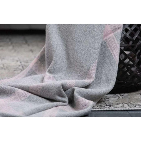 Foxford Cashmere Throw - Pearl Grey, Pink and White-Nook and Cranny - 2019 REI National Gift Store of the Year