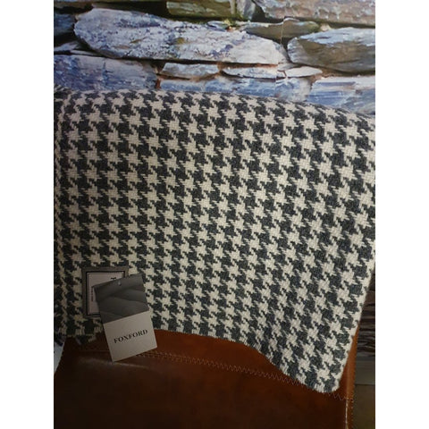 Foxford Merino Throw - Charcoal & White Houndstooth-Nook and Cranny - 2019 REI National Gift Store of the Year