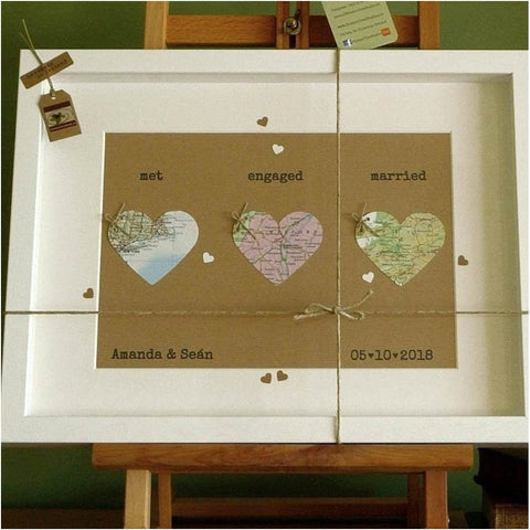 'Handcrafted 'Map of Love' Frame - Made in Ireland-Nook and Cranny - 2019 REI National Gift Store of the Year