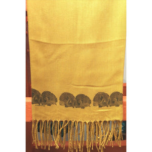 Handpainted Cashmere Scarf -Hedgehogs (Saffron)-Nook and Cranny - 2019 REI National Gift Store of the Year