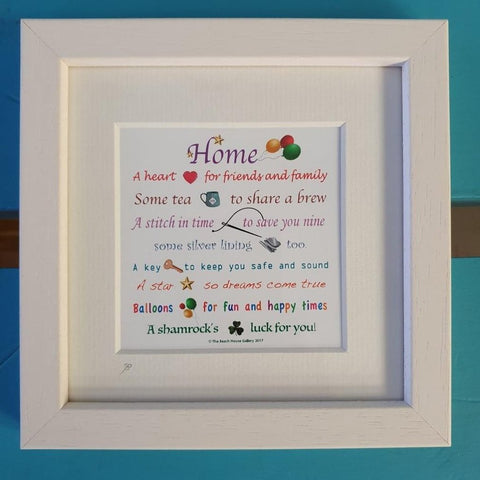 Home - A heart for friends and family, some tea to share a brew... (Loving poem in small white frame)-Nook and Cranny - 2019 REI National Gift Store of the Year