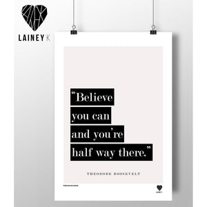 Believe you can ... (A4 mounted print)-Nook & Cranny Gift Store-2019 National Gift Store Of The Year-Ireland-Gift Shop