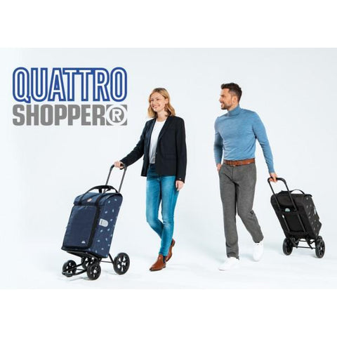 Sturdy, Sleek & Stylish Shopper Bag on Wheels (Quattro Shopper - Lily Turquoise)-Nook & Cranny Gift Store-2019 National Gift Store Of The Year-Ireland-Gift Shop