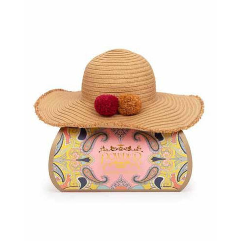 Lana Straw Hat with Mustard & Red Pom Poms-Nook & Cranny Gift Store-2019 National Gift Store Of The Year-Ireland-Gift Shop