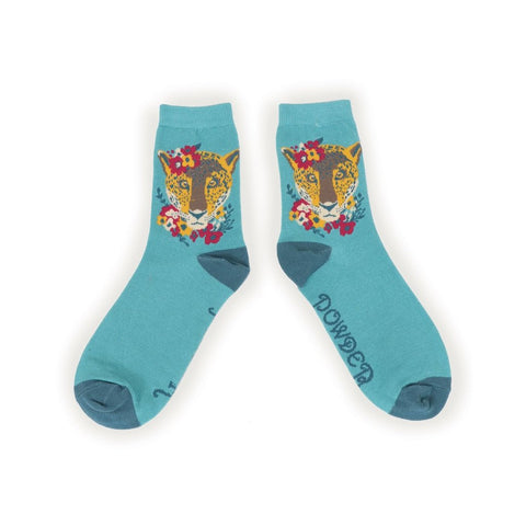 Leopard Floral (Turquoise) - Ladies Ankle Socks (UK Size 5-8)-Nook and Cranny - 2019 REI National Gift Store of the Year