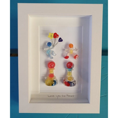 Love you to pieces .... Framed Irish Print with cute button characters-Nook and Cranny - 2019 REI National Gift Store of the Year