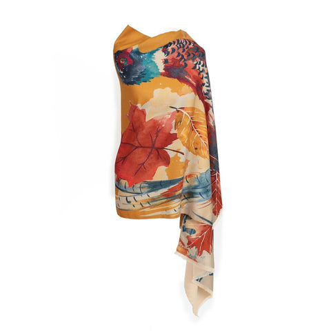 Luxurious Watercolour Pheasant Print Scarf-Nook & Cranny Gift Store-2019 National Gift Store Of The Year-Ireland-Gift Shop