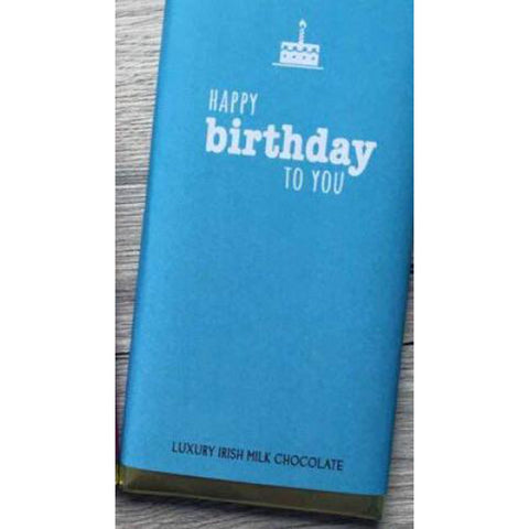 Luxury Irish Milk Chocolate 75g Bar – 'Happy Birthday to you' (Blue)-Nook and Cranny - 2019 REI National Gift Store of the Year