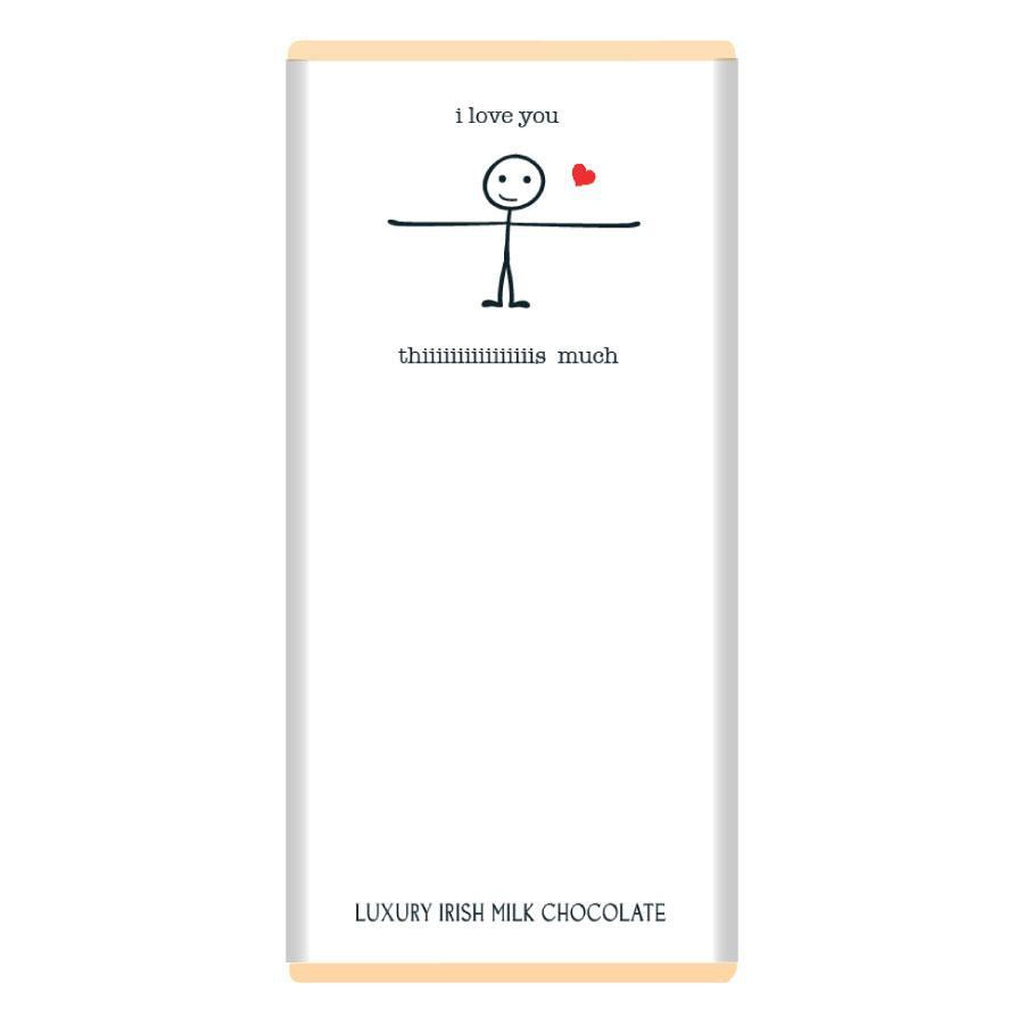 Luxury Irish Milk Chocolate 90g Bar – 'Love you this much'-Nook & Cranny Gift Store-2019 National Gift Store Of The Year-Ireland-Gift Shop