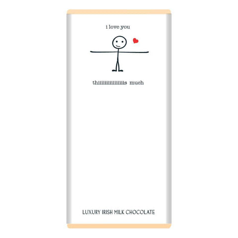 Luxury Irish Milk Chocolate 75g Bar – 'Love you this much'-Nook and Cranny - 2019 REI National Gift Store of the Year