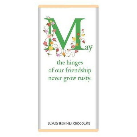 Luxury Irish Milk Chocolate 75g Bar – 'May the hinges of our friendship never go rusty'-Nook and Cranny - 2019 REI National Gift Store of the Year