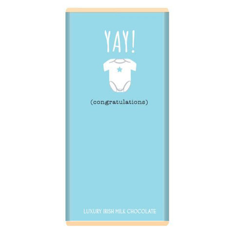 Luxury Irish Milk Chocolate 75g Bar – 'Yay! Congratulations' (Blue)-Nook and Cranny - 2019 REI National Gift Store of the Year