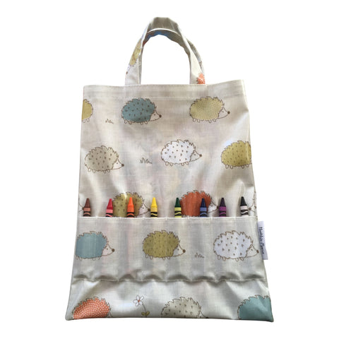 Oil Cloth Crayon Bag (with crayons & colouring book) - Hedgehogs-Nook and Cranny - 2019 REI National Gift Store of the Year