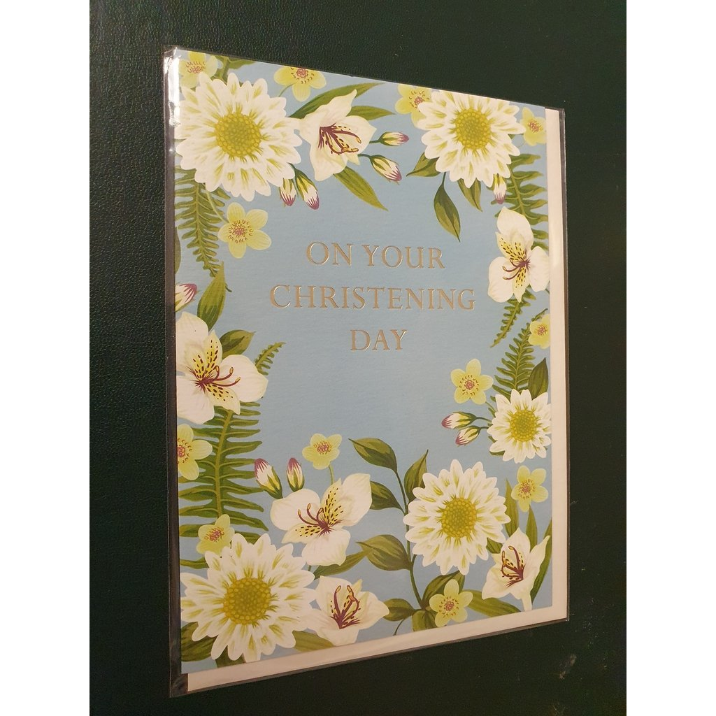On Your Christening Day (White Flowers) - Card-Nook & Cranny Gift Store-2019 National Gift Store Of The Year-Ireland-Gift Shop
