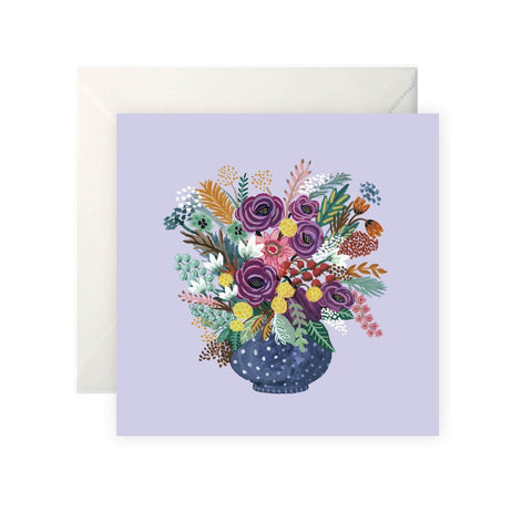 Purple Vase with Flowers card-Nook & Cranny Gift Store-2019 National Gift Store Of The Year-Ireland-Gift Shop