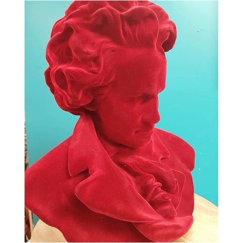 Red Flock Resin Beethoven Bust - A dramatic addition to your decor!-Nook and Cranny - 2019 REI National Gift Store of the Year