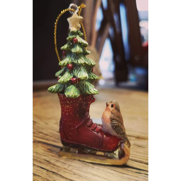 Skating Boot with Robin Christmas decoration-Nook and Cranny - 2019 REI National Gift Store of the Year