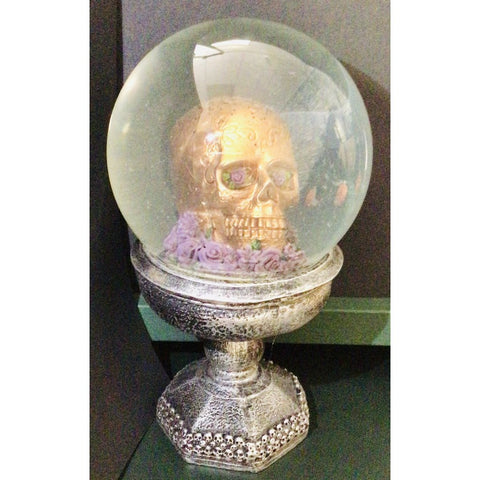 Skull Snowdome on Plinth Ornament-Nook and Cranny - 2019 REI National Gift Store of the Year