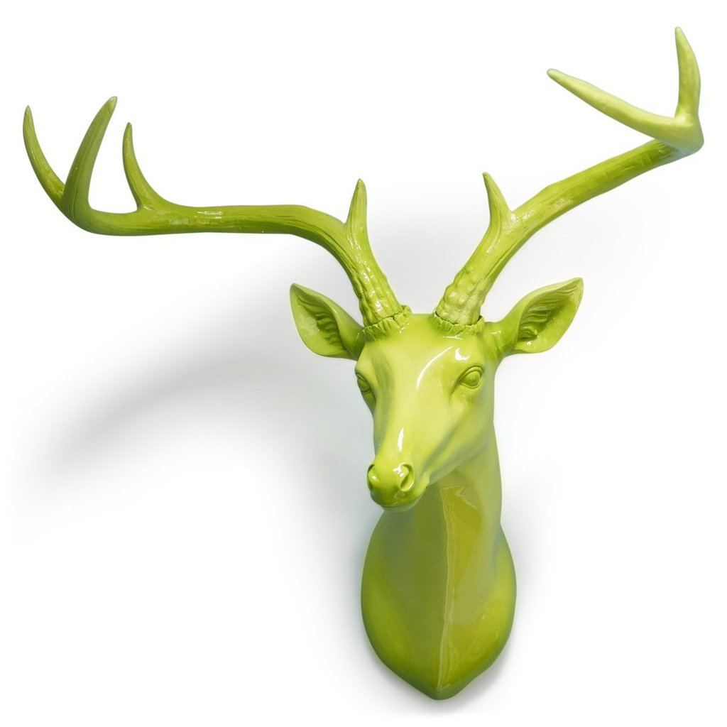 Stag Head Wall Hanging - Bright Lime Green-Nook and Cranny - 2019 REI National Gift Store of the Year
