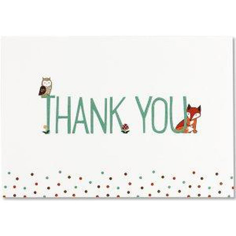 Thank you Cards - Box Set 14 Note Cards & 15 Envelopes - Woodland Friends-Nook and Cranny - 2019 REI National Gift Store of the Year