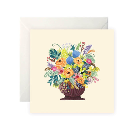 Vase with Flowers (Cream) - Card-Nook & Cranny Gift Store-2019 National Gift Store Of The Year-Ireland-Gift Shop