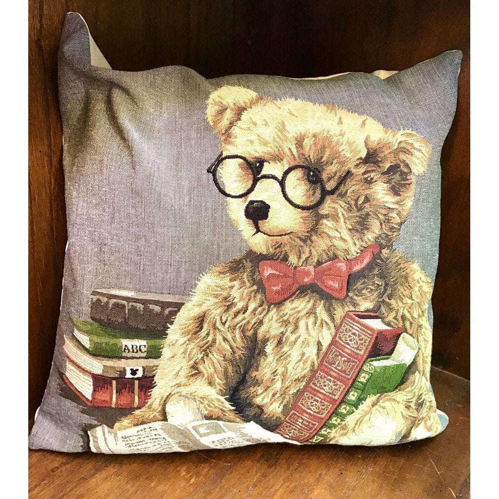Vintage Teddy Bear Cushion (Reading Teddy)-Nook and Cranny - 2019 REI National Gift Store of the Year