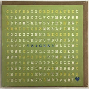 Word search- Teacher Card-Nook & Cranny Gift Store-2019 National Gift Store Of The Year-Ireland-Gift Shop