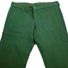 Load image into Gallery viewer, 1970's Dead Stock Hillbilly Brand Extra Low Double Tone Green Orange Bell Bottom Pants