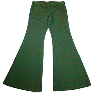 1970's Dead Stock Hillbilly Brand Extra Low Double Tone Green Orange Bell Bottom Pants