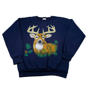 Retro Buck Animal Graphic Sweatshirt