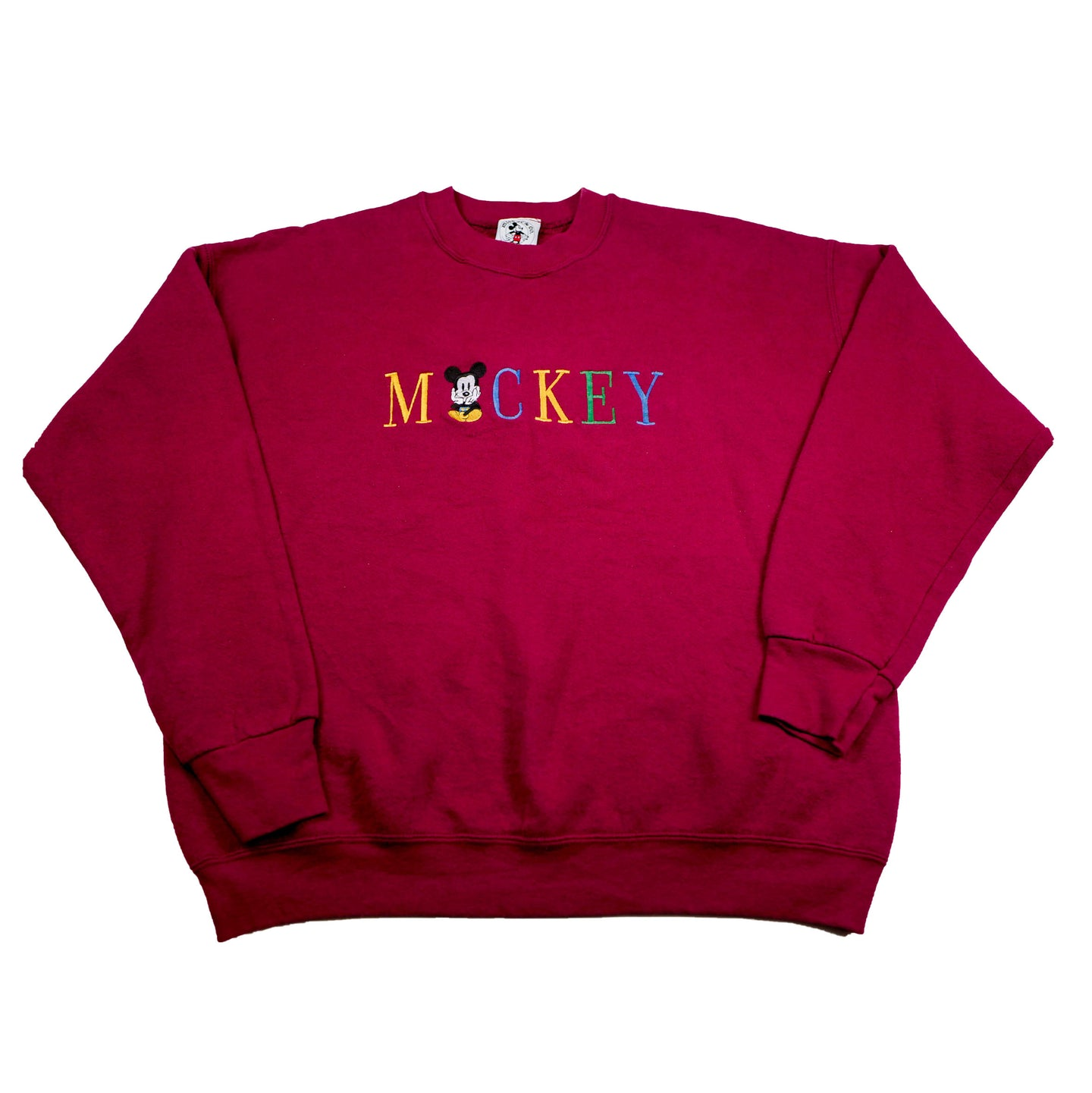 Stitched Mickey Mouse Burgundy Sweatshirt