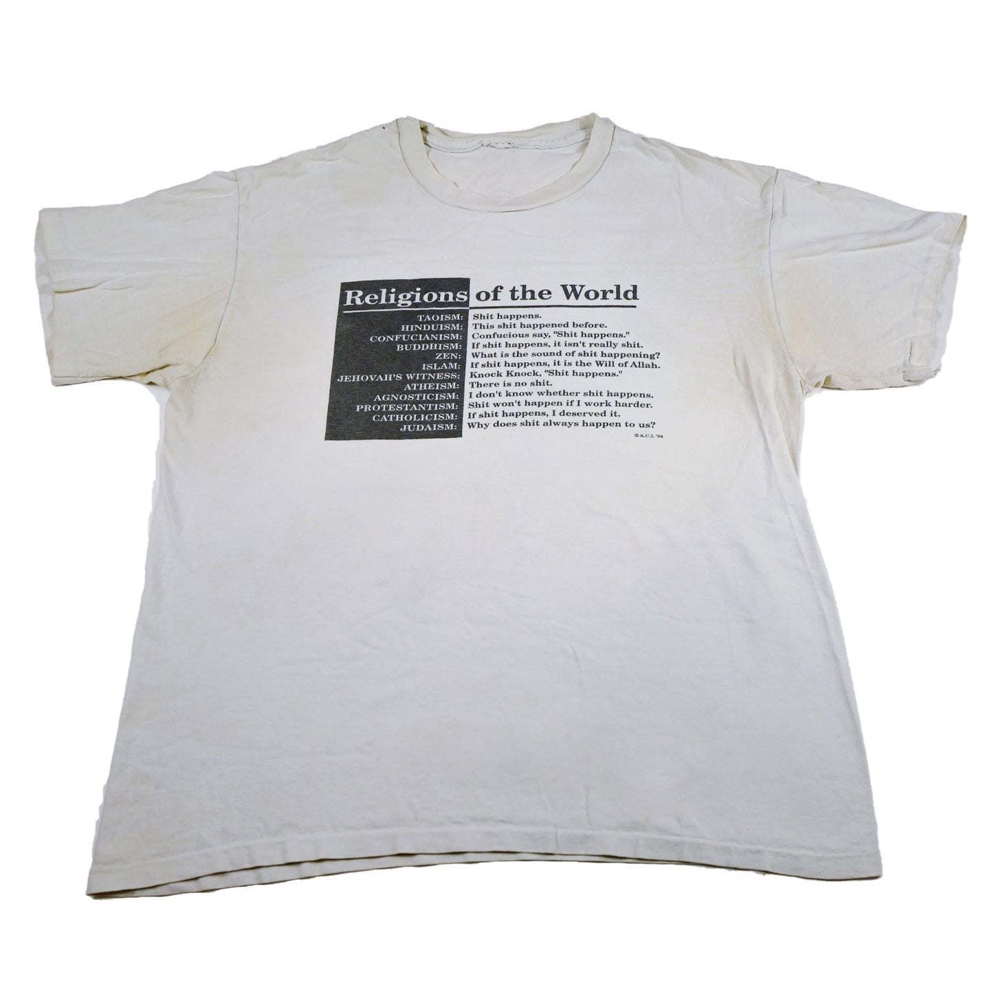 1994 Satire Religions of the World Tee