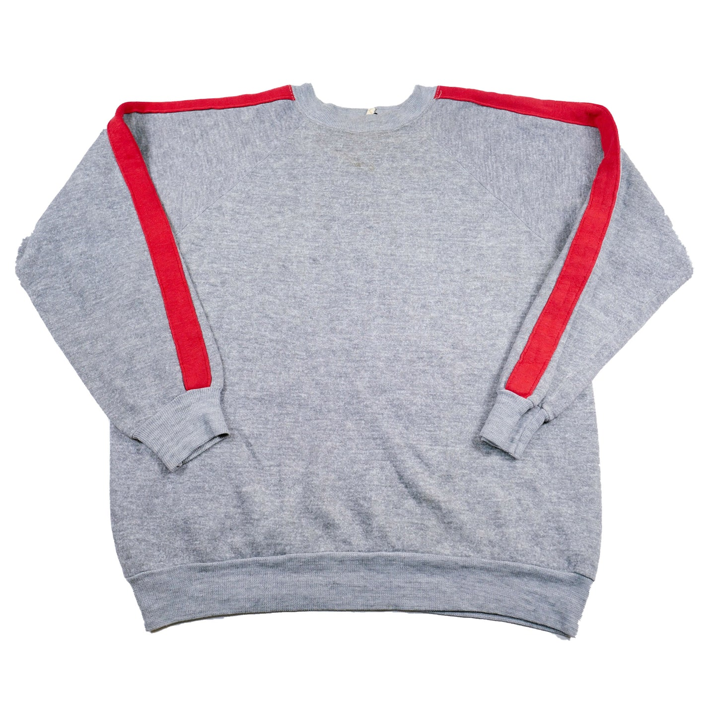 1970's Heather Grey Sweatshirt with Red Racing Arm Stripes
