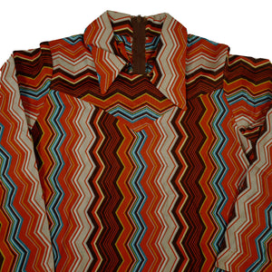Vintage Deadstock Groovy Patterned Collared Blouse