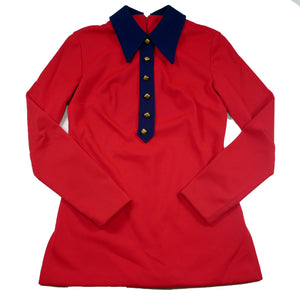 Vintage Panhandle Slim Western Red Long Sleeve Blouse