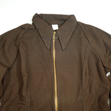 Load image into Gallery viewer, Vintage 70's Deadstock Brown Circle Zipper Long Sleeve Top