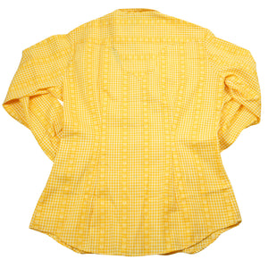 70's Rockmount Ranch Wear Yellow Collared Women's Pearl Snap Long Sleeve Top