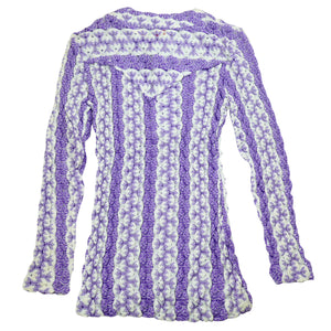HbarC California Ranchwear Woven Purple and White Long sleeve Top