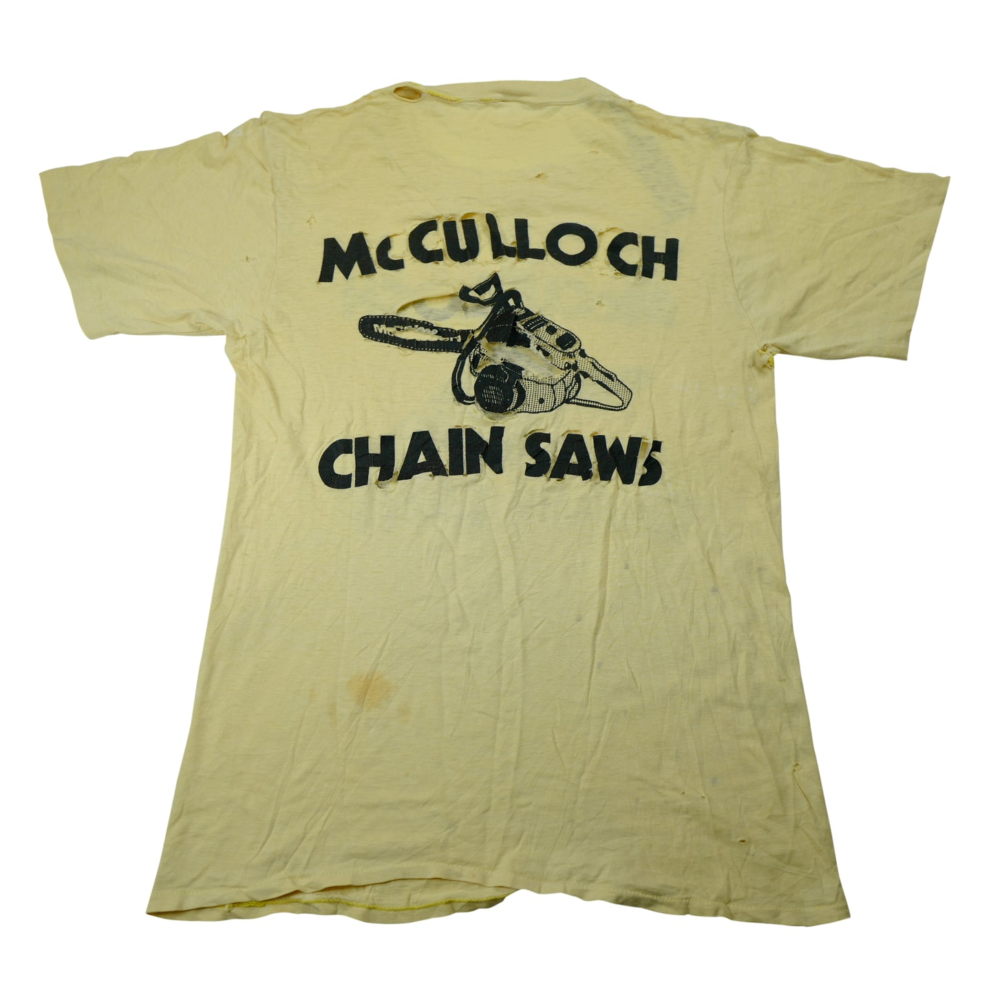 Vintage Thrashed McCulloch Chain Saws Tee