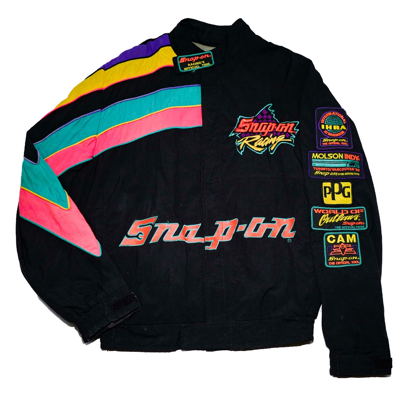 Multi-Colored 90's Snap-On Racing Windbreaker Jacket