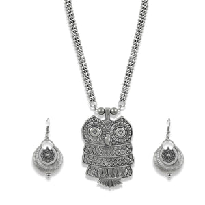 Charms Silver Oxidised Jewellery Set with Earrings for Women/Girls