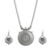 Charms Silver Oxidised Temple Jewellery Set with Earrings for Women/Girls NECK-31