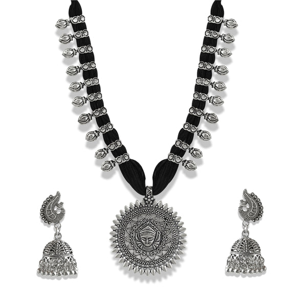 Charms Silver Oxidised Temple Jewellery Set with Earrings for Women/Girls NECK-33