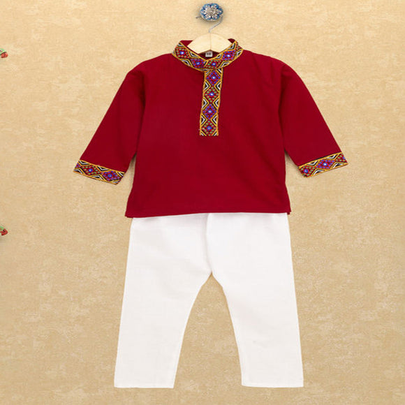Banjara India Kutchi Emboidered Kurta Pajama for Boys - Red