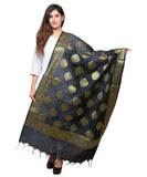 Banjara India Women's Banarasi Kora Silk Alia Butti Dupatta- Black