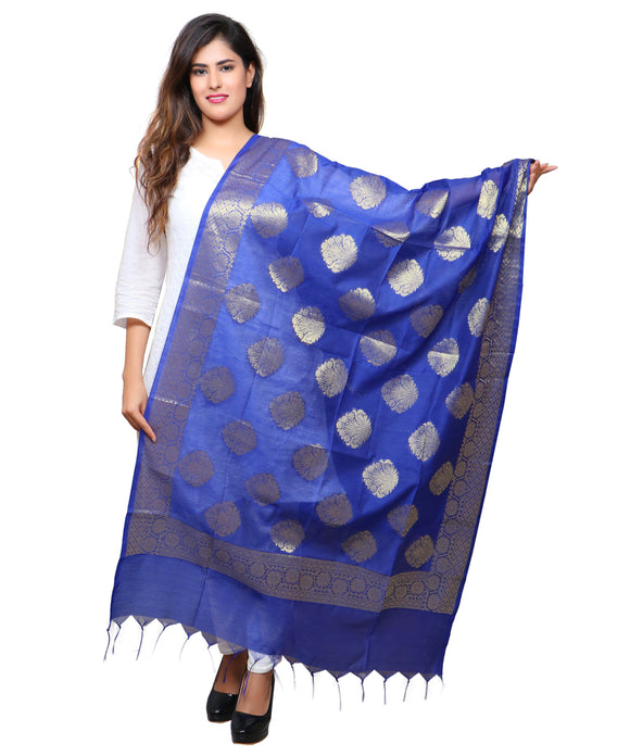Banjara India Women's Banarasi Kora Silk Alia Butti Dupatta- Blue