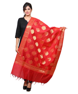 Banjara India Women's Banarasi Kora Silk Alia Butti Dupatta- Red