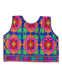 Banjara India Sleeveless Bricks Embroidered Kids Ethnic Jacket - Blue