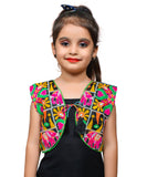 Black Haathi Embroidered Jacket For Kids